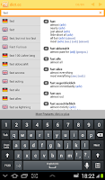 Screenshot of dict.cc dictionary