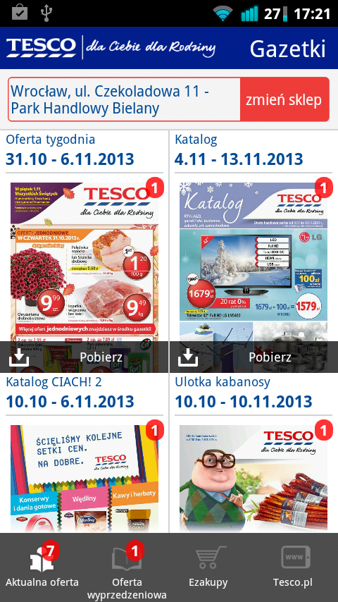 Gazetki Tesco - screenshot