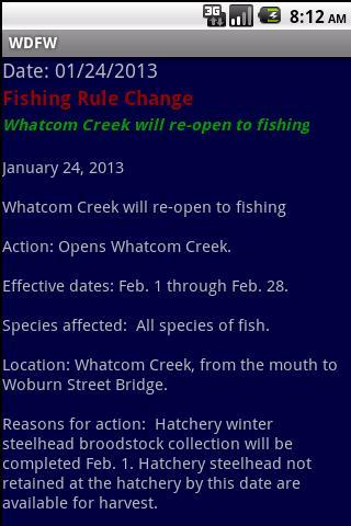 WDFW-WA Fish/Wildlife notices- screenshot