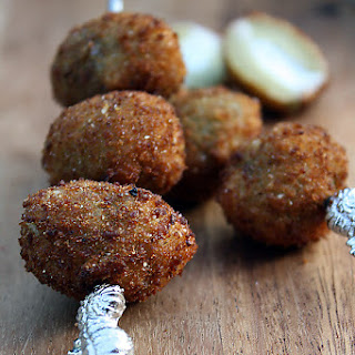 Fried Olives Stuffed with Cheeses and Herbs