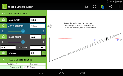 Qioptiq Lens Calculator- screenshot thumbnail