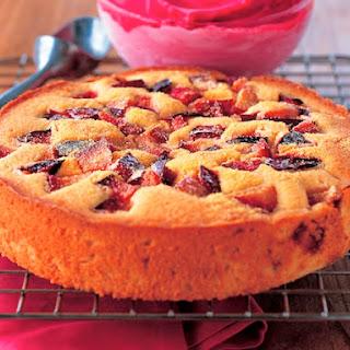 Plum-Cornmeal Cake with Plum Sorbet.