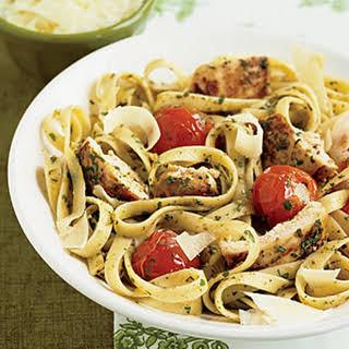 Pesto Fettuccine with Chicken.