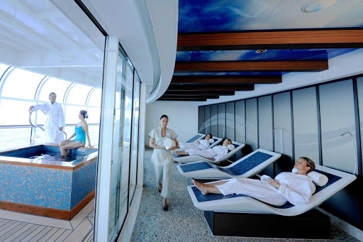 Disney-Dream-Senses-Spa-Rainforest-Room-Warm-Benches - Cozy up to the warm benches in the Rainforest Room of Senses Spa during your sailing on Disney Dream.
