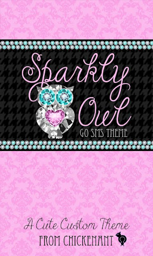 Pink Sparkly Owl Theme SMS