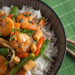 Thai Red Curry Shrimp with Vegetables.