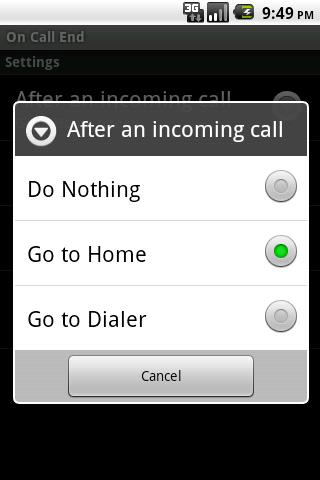 On Call End (not call log) - screenshot