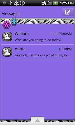 GO SMS THEME SnowFlakeTiger4U