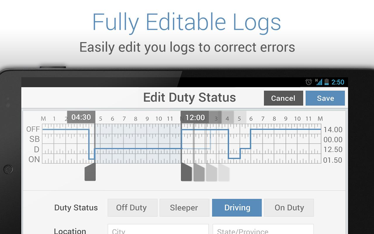 Driver Logbook - KeepTruckin - screenshot