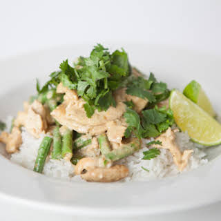 Green Curry Chicken with Jasmine Rice and Long Beans.