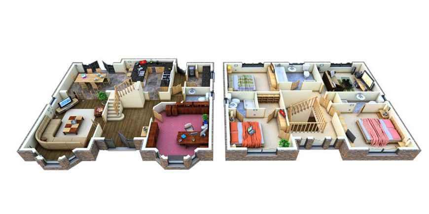 Haus bauen ideen grundriss 3d  3D Haus Grundriss Design-Ideen - Google Play Store revenue ...
