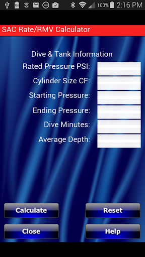 Scuba SAC RMV Calculator
