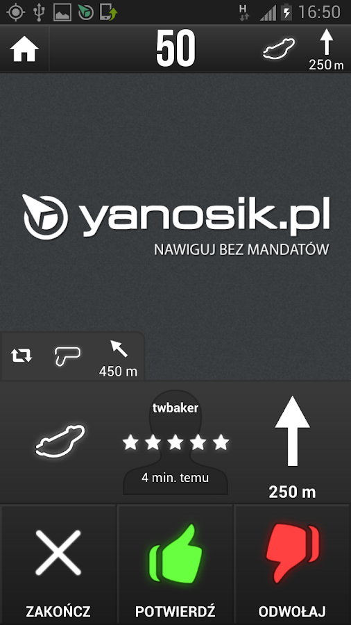 Yanosik - nawigacja antyradar - screenshot
