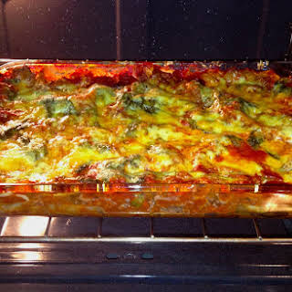 Lasagna with Spinach and Gouda Cheese.