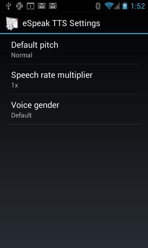 eSpeak TTS- screenshot