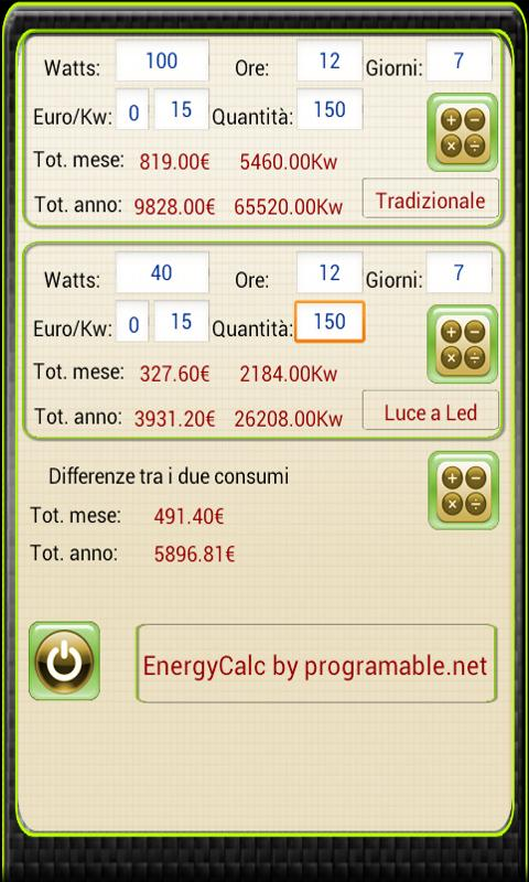 Calcolatrice Energetica- screenshot