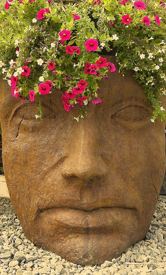 Large Flower Planter by Ed Hanson - Artistic Objects Other Objects ( face, planter, flowers )