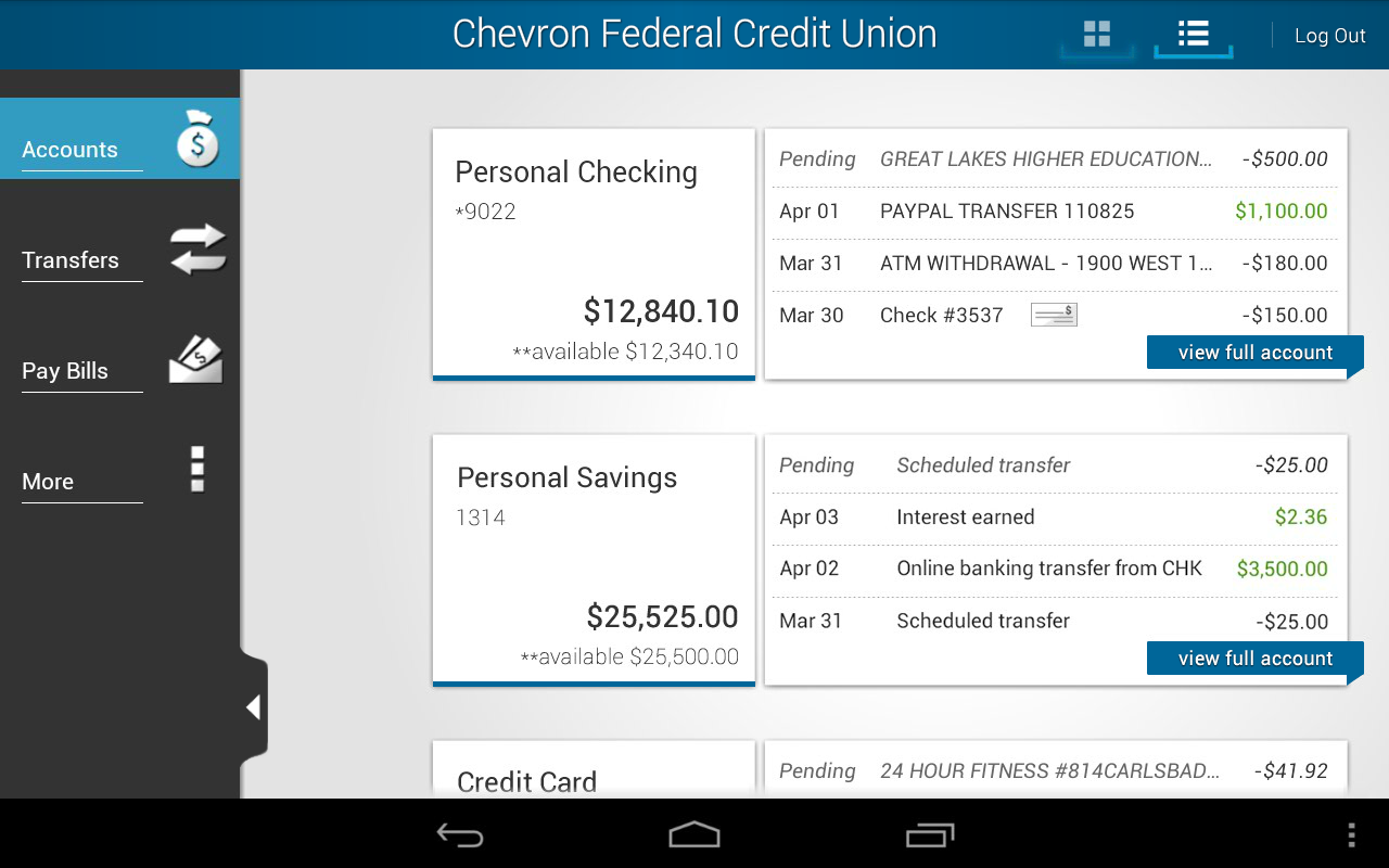 Chevron FCU Mobile Banking - screenshot