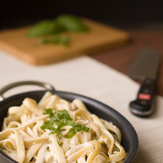 Pasta with Cashew Truffle Cream Sauce.