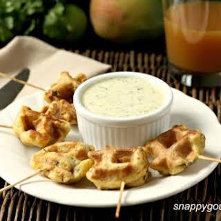 Caribbean Shrimp Stuffed Waffles & Mango Cilantro Dip.