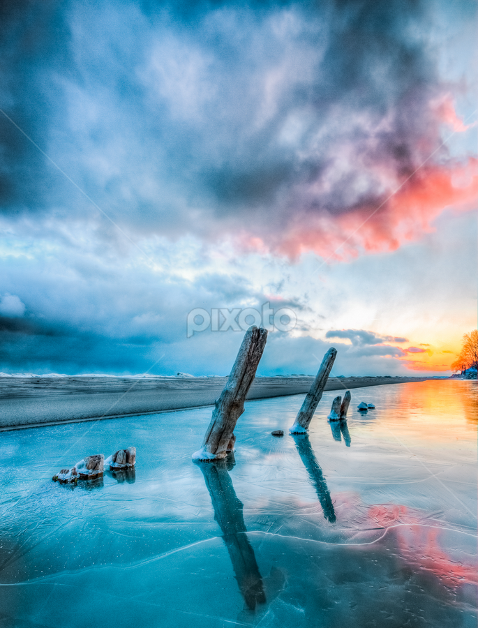 Frozen Pillars by Trevor Pottelberg - Landscapes Weather ( clouds, sand, canada, long point )
