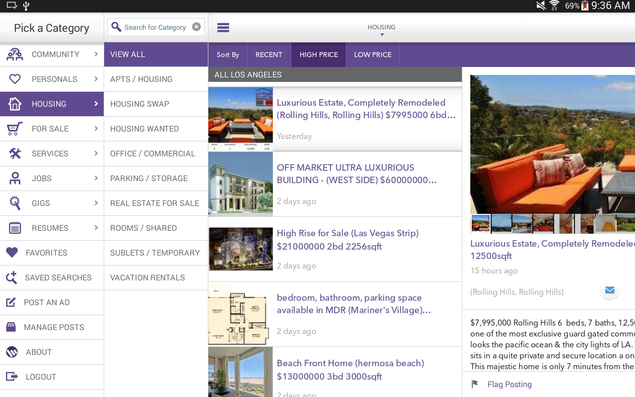 Mokriya Craigslist Android app- screenshot