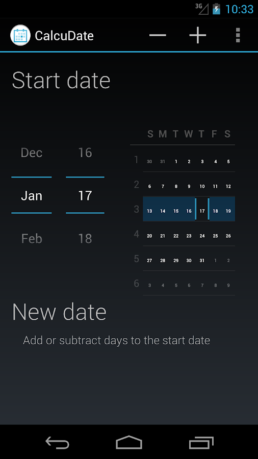 CalcuDate- screenshot