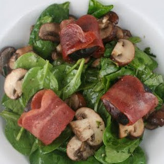Spinach Salad with Bacon Wrapped Figs, Roasted Mushrooms, and Grilled Queso Blanco.