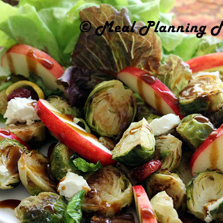 Roasted Brussels Sprouts 'n Apple Salad with Balsamic Drizzle.