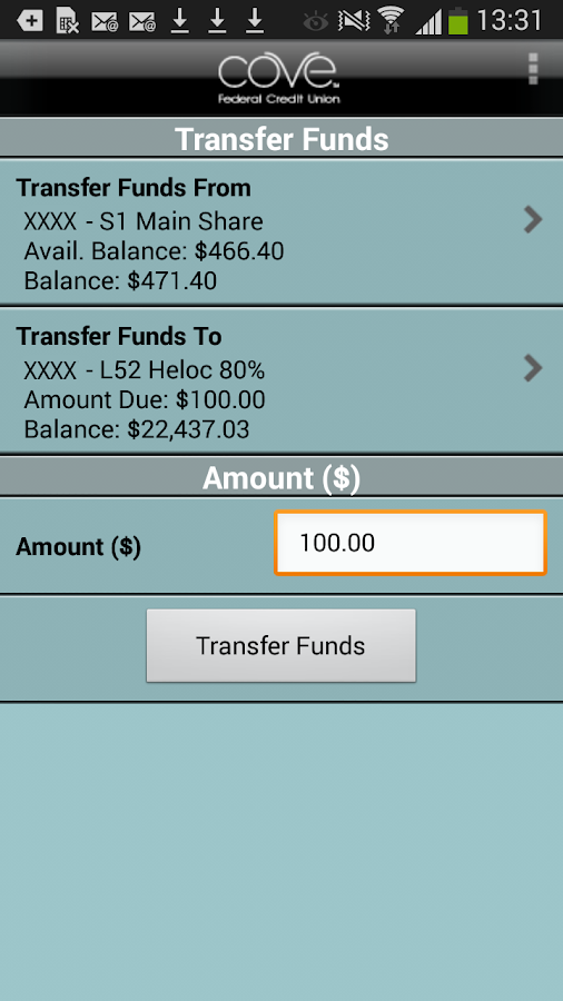 COVE Federal Credit Union- screenshot