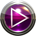Poweramp skin pink glass icon