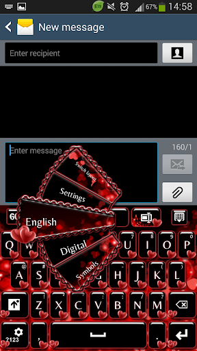 GO Keyboard Red Hearts