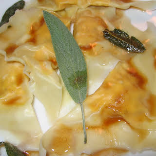 Pumpkin and Cream Cheese Ravioli in Sage and Butter Sauce.