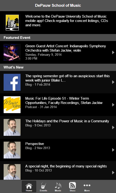 DePauw School of Music- screenshot