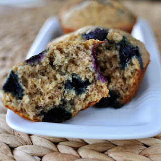Healthy Banana Blueberry Muffins.