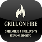 Grill on fire icon