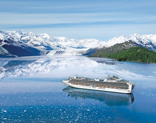 Diamond-Princess-in-College-Fjord-Alaska - Take in ice-covered mountains and glaciers during your Diamond Princess cruise through College Fjord, Alaska.