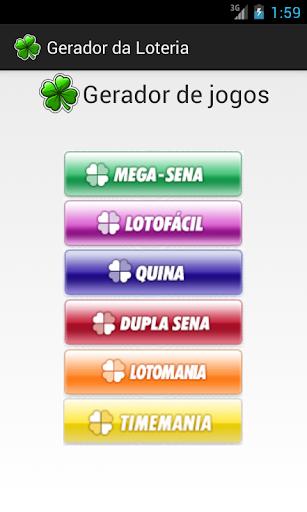 Gerador de jogos da loteria