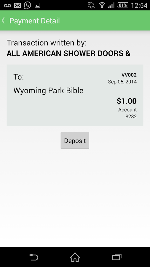 Mobile Checkbook- screenshot