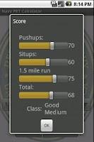 Screenshot of Navy PRT Calculator