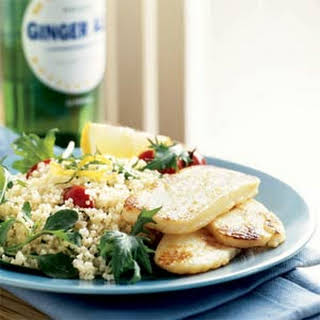 Halloumi with Couscous and Greens.