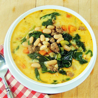 Spicy Sausage, White Bean, and Spinach Soup.