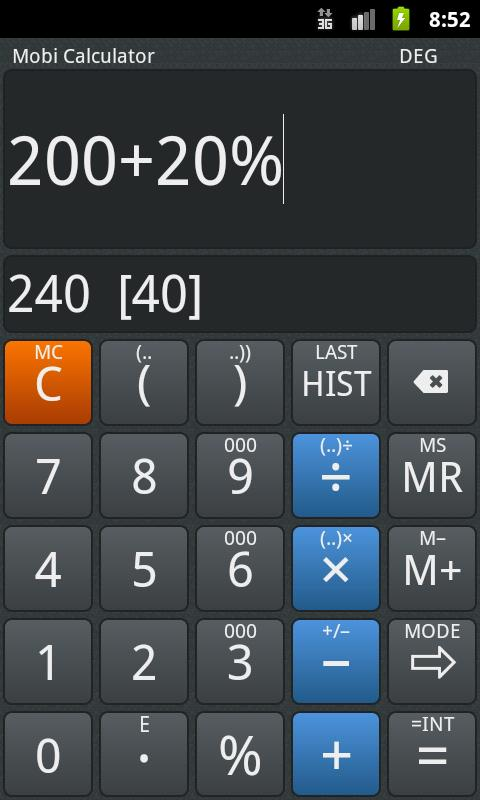 Mobi Calculator PRO- screenshot