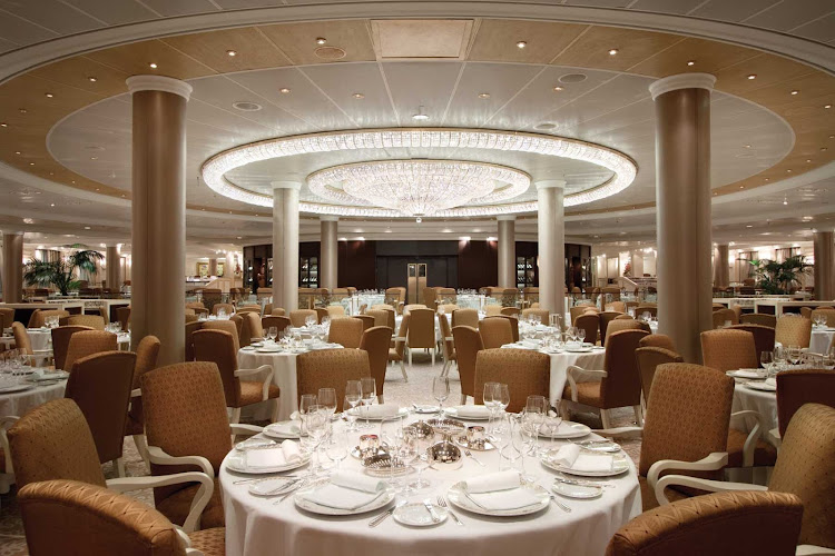 You'll love dining in Oceania Riviera's elegant Grand Dining Room under the luminous crystal chandelier.