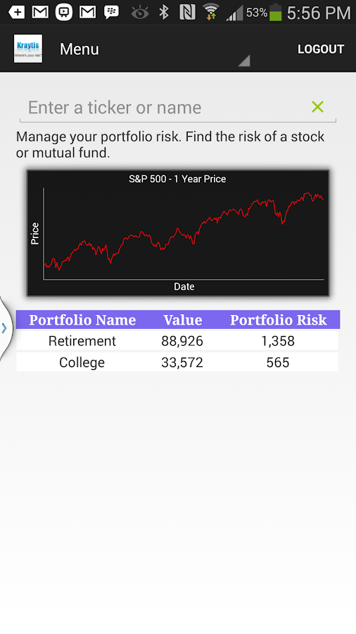 Kraytis Portfolio Risk Manager- screenshot