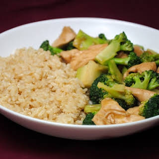 Lunch Special Chicken or Tofu with Broccoli and Brown Sauce.