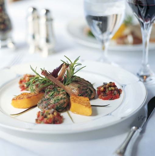 Culinary-Experiences-Lamb-Chops - Succulent lamb chips are expertly prepared on the Crystal Serenity.