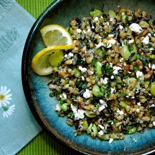 Wheatberry & Wild Rice Salad with Favas & Fried Seeds.