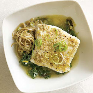 Lemon-Ginger Poached Halibut with Leeks & Spinach.