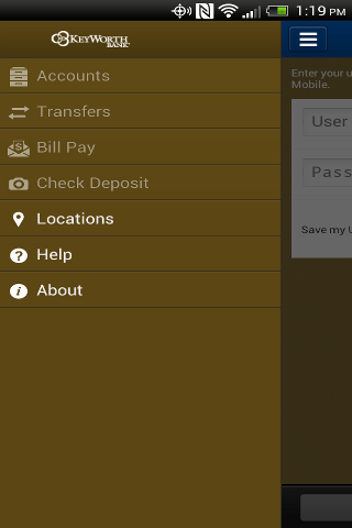 KeyWorth Bank Mobile - screenshot